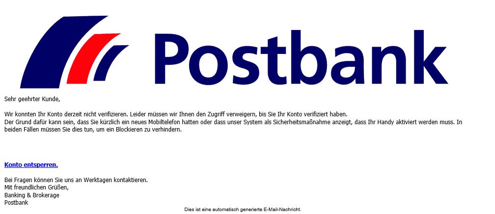 Und wieder eine neues Bank Phishing